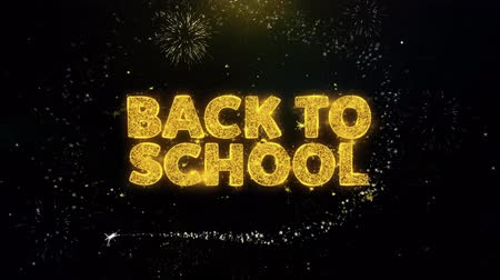 fornecimento : Back To School Text on Gold Glitter Particles Spark Exploding Fireworks Display. Sale, Discount Price, Off Deals, Offer Promotion Offer Percent Discount ads 4K Loop Animation.