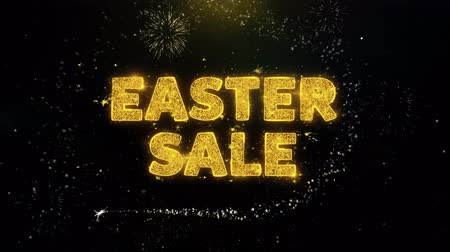 nyuszi : Easter Sale Text on Gold Glitter Particles Spark Exploding Fireworks Display. Sale, Discount Price, Off Deals, Offer Promotion Offer Percent Discount ads 4K Loop Animation.