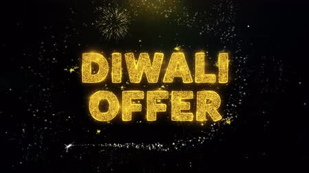 venda : Diwali Offer Text on Gold Glitter Particles Spark Exploding Fireworks Display. Sale, Discount Price, Off Deals, Offer Promotion Offer Percent Discount ads 4K Loop Animation.
