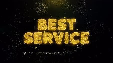 alku : Best Service Text on Gold Glitter Particles Spark Exploding Fireworks Display. Sale, Discount Price, Off Deals, Offer Promotion Offer Percent Discount ads 4K Loop Animation. Stock mozgókép