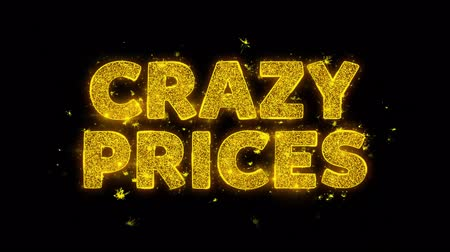 plakát : Crazy Prices Text Sparks Glitter Particles on Black Background. Sale, Discount Price, Off Deals, Offer promotion offer percent discount ads 4K Loop Animation.