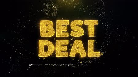 barganha : Best Deal Text on Gold Glitter Particles Spark Exploding Fireworks Display. Sale, Discount Price, Off Deals, Offer Promotion Offer Percent Discount ads 4K Loop Animation. Stock Footage