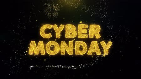 monção : Cyber Monday Text on Gold Glitter Particles Spark Exploding Fireworks Display. Sale, Discount Price, Off Deals, Offer Promotion Offer Percent Discount ads 4K Loop Animation. Stock Footage