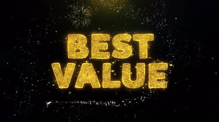 product promo : Best Value Text on Gold Glitter Particles Spark Exploding Fireworks Display. Sale, Discount Price, Off Deals, Offer Promotion Offer Percent Discount ads 4K Loop Animation.