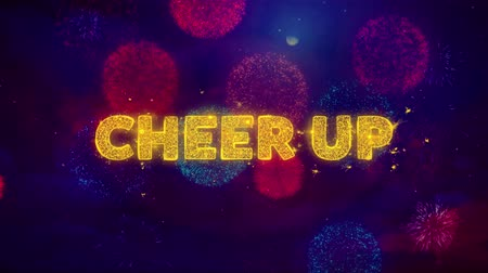appreciation : Cheer Up Text on Colorful Firework Explosion Particles. Sale, Discount Price, Off Deals, Offer promotion offer percent discount ads 4K Loop Animation.