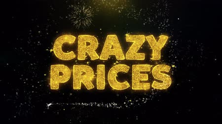 cupom : Crazy Prices Text on Gold Glitter Particles Spark Exploding Fireworks Display. Sale, Discount Price, Off Deals, Offer Promotion Offer Percent Discount ads 4K Loop Animation.