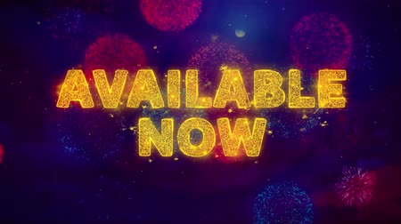 mevcut : Available Now Text on Colorful Firework Explosion Particles. Sale, Discount Price, Off Deals, Offer promotion offer percent discount ads 4K Loop Animation. Stok Video
