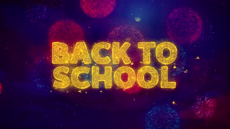 promocional : Back To School Text on Colorful Firework Explosion Particles. Sale, Discount Price, Off Deals, Offer promotion offer percent discount ads 4K Loop Animation.