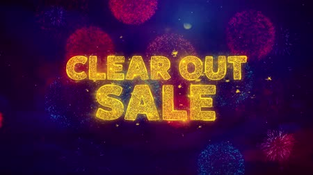 cupom : Clear Out Sale Text on Colorful Firework Explosion Particles. Sale, Discount Price, Off Deals, Offer promotion offer percent discount ads 4K Loop Animation.