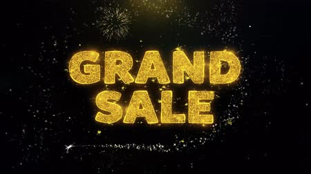 ceny : Best Product Text on Gold Glitter Particles Spark Exploding Fireworks Display. Sale, Discount Price, Off Deals, Offer Promotion Offer Percent Discount ads 4K Loop Animation.