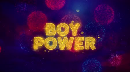 pré escolar : Boy Power Text on Colorful Firework Explosion Particles. Sale, Discount Price, Off Deals, Offer promotion offer percent discount ads 4K Loop Animation.