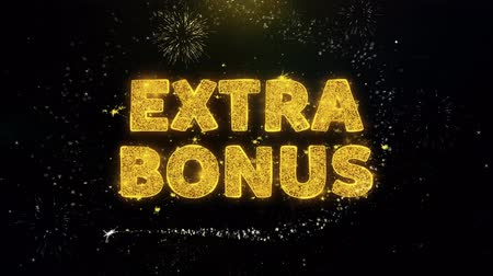 odznak : Extra Bonus Text on Gold Glitter Particles Spark Exploding Fireworks Display. Sale, Discount Price, Off Deals, Offer Promotion Offer Percent Discount ads 4K Loop Animation.
