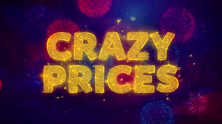 por cento : Crazy Prices Text on Colorful Firework Explosion Particles. Sale, Discount Price, Off Deals, Offer promotion offer percent discount ads 4K Loop Animation.