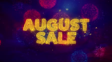saffraan : August Sale Text on Colorful Firework Explosion Particles. Sale, Discount Price, Off Deals, Offer promotion offer percent discount ads 4K Loop Animation.