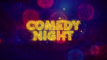 jetel : Comedy Night Text on Colorful Firework Explosion Particles. Sale, Discount Price, Off Deals, Offer promotion offer percent discount ads 4K Loop Animation.