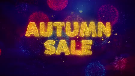 preisschild : Autumn Sale Text auf bunten Feuerwerks-Explosions-Partikeln. Sale, Discount Price, Off Deals, Angebot Promotion Angebot Prozent Rabatt Anzeigen 4K Loop Animation. Videos