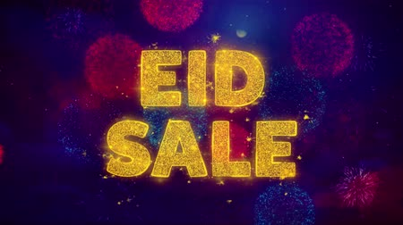 повод : Eid Sale Text on Colorful Firework Explosion Particles. Sale, Discount Price, Off Deals, Offer promotion offer percent discount ads 4K Loop Animation.