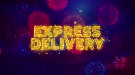 rád : EXPRESS DELIVERY Text on Colorful Firework Explosion Particles. Sale, Discount Price, Off Deals, Offer promotion offer percent discount ads 4K Loop Animation.