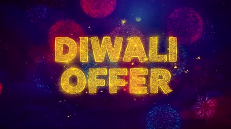 cupom : Diwali Offer Text on Colorful Firework Explosion Particles. Sale, Discount Price, Off Deals, Offer promotion offer percent discount ads 4K Loop Animation.
