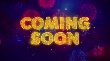 promover : Coming SoonText on Colorful Firework Explosion Particles. Sale, Discount Price, Off Deals, Offer promotion offer percent discount ads 4K Loop Animation. Stock Footage