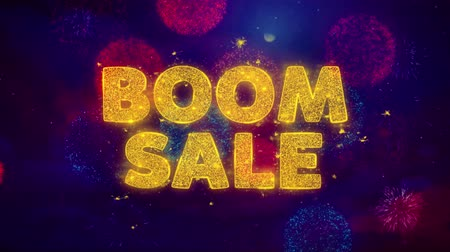 comics pop : Boom Sale Text on Colorful Firework Explosion Particles. Sale, Discount Price, Off Deals, Offer promotion offer percent discount ads 4K Loop Animation.