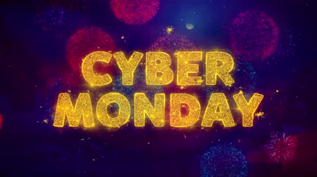 金曜日 : Cyber Monday Text on Colorful Firework Explosion Particles. Sale, Discount Price, Off Deals, Offer promotion offer percent discount ads 4K Loop Animation. 動画素材