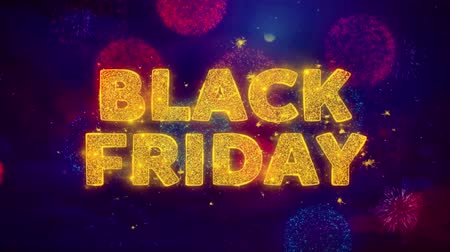 promo : Black Friday Text on Colorful Firework Explosion Particles. Sale, Discount Price, Off Deals, Offer promotion offer percent discount ads 4K Loop Animation. Stock Footage