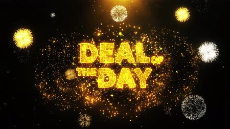 cupom : Deal Of The Day Text on Firework Display Explosion Particles. Sale, Discount Price, Off Deals, Offer promotion offer percent discount ads 4K Loop Animation.