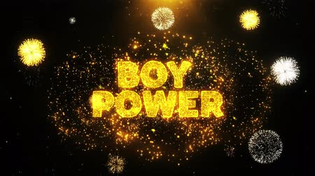 auxiliar : Boy Power Text on Firework Display Explosion Particles. Sale, Discount Price, Off Deals, Offer promotion offer percent discount ads 4K Loop Animation.