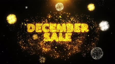 クリアランス : December Sale Text on Firework Display Explosion Particles. Sale, Discount Price, Off Deals, Offer promotion offer percent discount ads 4K Loop Animation.