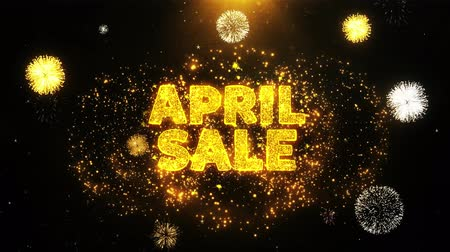 plakát : April Sale Text on Firework Display Explosion Particles. Sale, Discount Price, Off Deals, Offer promotion offer percent discount ads 4K Loop Animation.