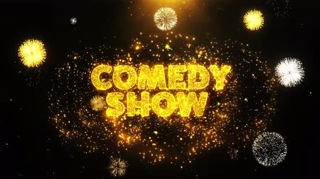 mikrofon : Comedy Show Text on Firework Display Explosion Particles. Sale, Discount Price, Off Deals, Offer promotion offer percent discount ads 4K Loop Animation. Wideo