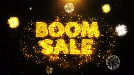 comics pop : Boom Sale Text on Firework Display Explosion Particles. Sale, Discount Price, Off Deals, Offer promotion offer percent discount ads 4K Loop Animation.