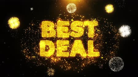 wizytówka : Best Deal Text on Firework Display Explosion Particles. Sale, Discount Price, Off Deals, Offer promotion offer percent discount ads 4K Loop Animation. Wideo
