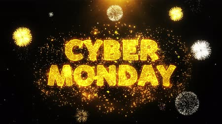 segunda feira : Cyber Monday Text on Firework Display Explosion Particles. Sale, Discount Price, Off Deals, Offer promotion offer percent discount ads 4K Loop Animation.