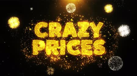 pricetag : Crazy Prices Text on Firework Display Explosion Particles. Sale, Discount Price, Off Deals, Offer promotion offer percent discount ads 4K Loop Animation.