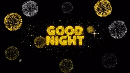 uithang bord : Good Night Text Reveal on Glitter Golden Particles Firework. Verkoop, kortingsprijs, off deals, aanbieding promotie aanbieding procent korting advertenties 4K Loop Animation.