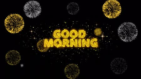 livraria : Good Morning Text Reveal on Glitter Golden Particles Firework. Sale, Discount Price, Off Deals, Offer promotion offer percent discount ads 4K Loop Animation.