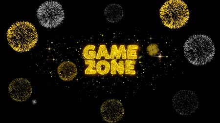 рекламный : Game zone Text Reveal on Glitter Golden Particles Firework. Sale, Discount Price, Off Deals, Offer promotion offer percent discount ads 4K Loop Animation. Стоковые видеозаписи