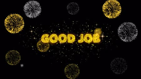 handen ineen : Good Job Text Reveal on Glitter Golden Particles Firework. Sale, Discount Price, Off Deals, Offer promotion offer percent discount ads 4K Loop Animation.