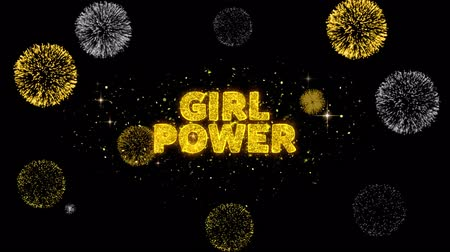mindennapi : Girl Power Text Reveal on Glitter Golden Particles Firework. Sale, Discount Price, Off Deals, Offer promotion offer percent discount ads 4K Loop Animation. Stock mozgókép