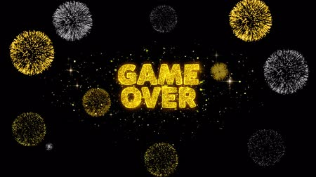 dart : Game Over Text Reveal on Glitter Golden Particles Firework. Sale, Discount Price, Off Deals, Offer promotion offer percent discount ads 4K Loop Animation.