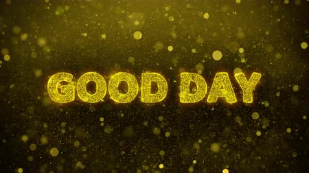 promo : Good Day Text Golden Glitter Glowing Lights Shine Particles. Sale, Discount Price, Off Deals, Offer promotion offer percent discount ads 4K Loop Animation.