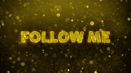 yirmi : Follow Me Text Golden Glitter Glowing Lights Shine Particles. Sale, Discount Price, Off Deals, Offer promotion offer percent discount ads 4K Loop Animation. Stok Video