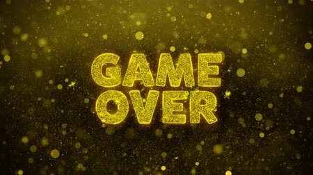 tiro com arco : Game Over Text Golden Glitter Glowing Lights Shine Particles. Sale, Discount Price, Off Deals, Offer promotion offer percent discount ads 4K Loop Animation. Stock Footage