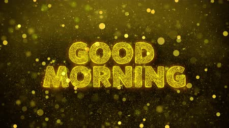livraria : Good Morning Text Golden Glitter Glowing Lights Shine Particles. Sale, Discount Price, Off Deals, Offer promotion offer percent discount ads 4K Loop Animation.