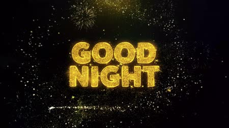 uithangbord : Good Night Text on Gold Glitter Particles Spark Exploding Fireworks Display. Sale, Discount Price, Off Deals, Offer Promotion Offer Percent Discount ads 4K Loop Animation. Stockvideo