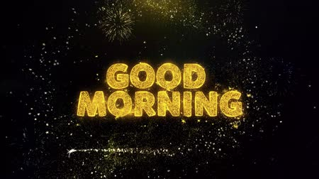 vissza : Good Morning Text on Gold Glitter Particles Spark Exploding Fireworks Display. Sale, Discount Price, Off Deals, Offer Promotion Offer Percent Discount ads 4K Loop Animation.