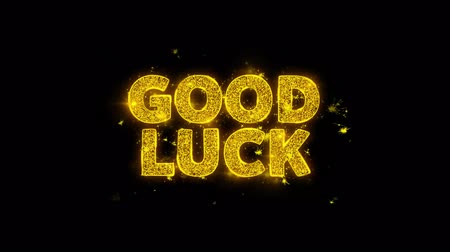 babona : Good LuckText Sparks Glitter Particles on Black Background. Sale, Discount Price, Off Deals, Offer promotion offer percent discount ads 4K Loop Animation.
