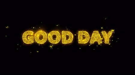 preisschild : Good Day Text Sparks Glitter Particles on Black Background. Sale, Discount Price, Off Deals, Offer promotion offer percent discount ads 4K Loop Animation.